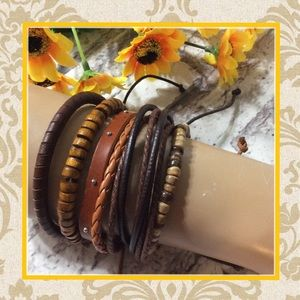 Jewelry - 🍒NEW 5PC WRAP BRACELET LEATHER LAYER STACKER BROWN